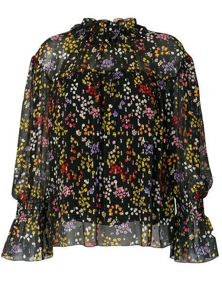 See by Chloe blouse metallic high women high neck floral cotton black silk top