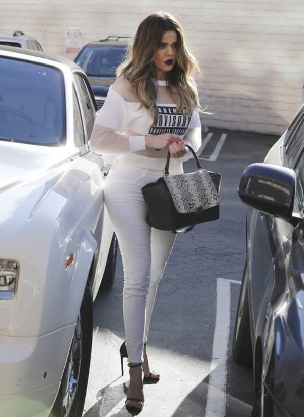 shirt parental advisory explicit content white mesh t-shirt crop tops white crop tops celebrities in white top khloe kardashian white