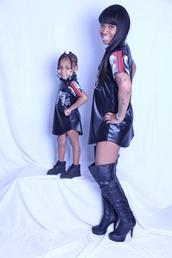 dress,jersey dress,shirt,black,black leather skirt,oversized shirt