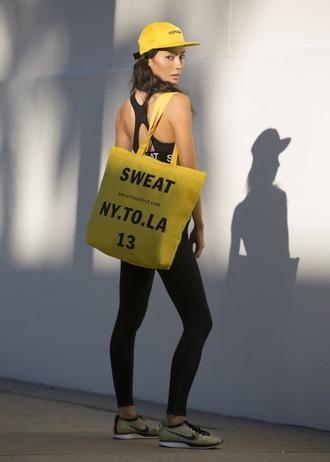 sweat the style blogger tights yellow bag sportswear black leggings sports bra