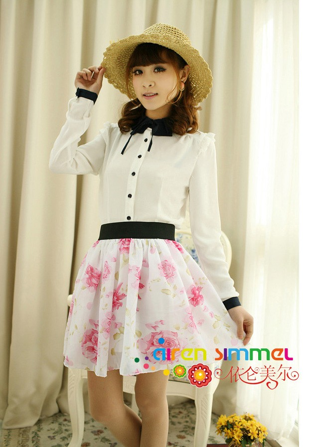 2012 Retro Lovely high waist pleated double layer chiffon skirt Pompon skirts122 - Womens Dress