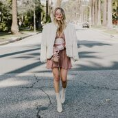 hustle and halcyon,blogger,dress,coat,shoes,pink dress,fur coat,boots,white boots,white fur coat