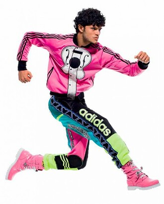 multicolor pants green pants adidas jeremy scott blue pants 90s style shoes pants