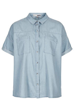 MOTO Bleach Denim Boxy Shirt - Tops - Clothing - Topshop USA