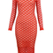 Long sleeve crochet midi bandage dress red