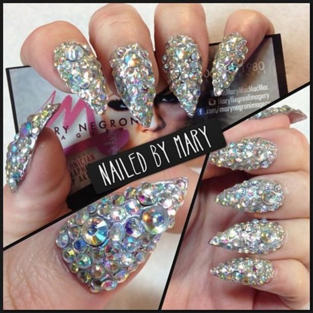 Black Stiletto Nails With Rhinestones nail accessories rhinestones