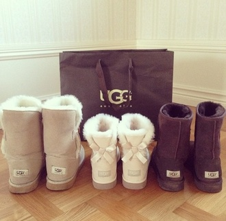 bows fashion ugg boots beige cute shoes winter boots