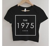 top,the 1975,band,crop tops,black,band merch,band t-shirt