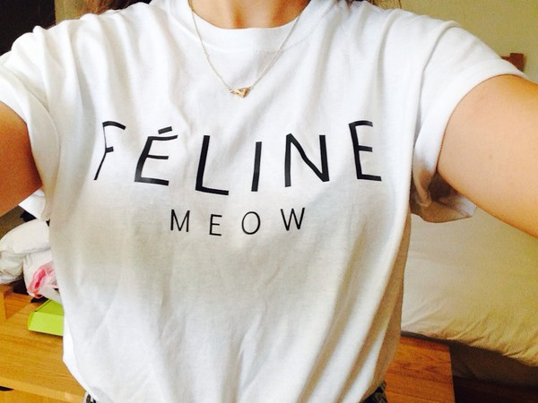 t-shirt quote on it top t-shirt white top feline meow feline white shirt
