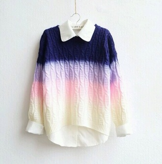 sweater bern knitwear knitted sweater bernard lafonz ombre ombre sweater pink colorful collar blouse style t-shirt shirt