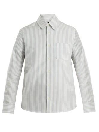 shirt cotton white blue top