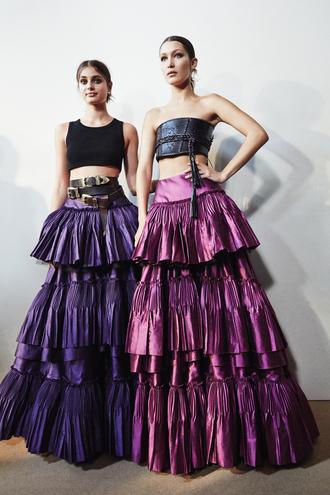 skirt alberta ferretti milan fashion week 2016 model taylor hill bella hadid maxi skirt metallic top crop tops belt ruffle