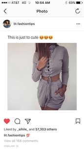 shirt,laces,long sleeves,sweater,long sleeve romper,dress,grey,lace up,sexy