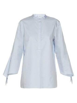 shirt long cotton light blue light blue top