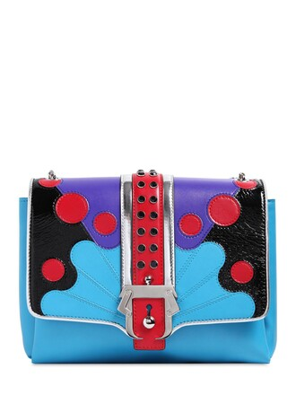 patchwork bag leather bag leather light blue light blue