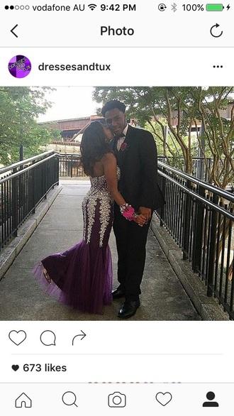 dress prom prom dress sparkle diamonds silver purple mermaid prom dress formal grape strapless