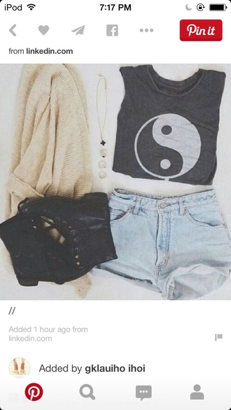 top tank yin yang yin yang shirt summer shorts denim shorts love cardigan black boots doc martens necklace spring minimalist cute