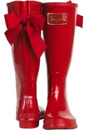 shoes,wellies,red,red rain boots,bow,girly,cute