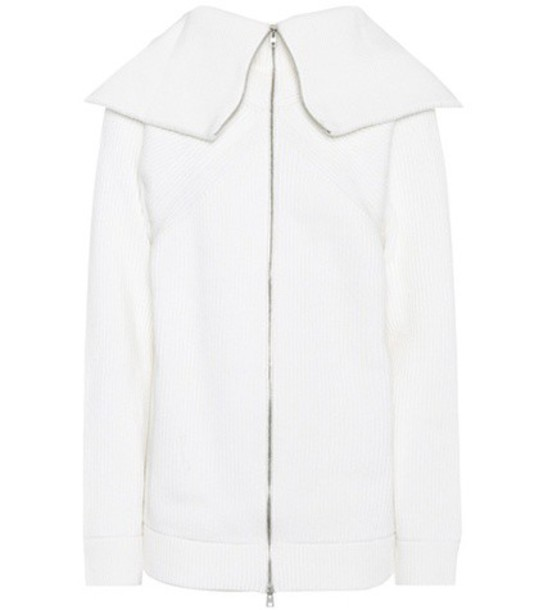 Victoria Beckham Ribbed wool cardigan in white