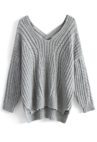 sweater sunny afternoon v-neck sweater in grey grey chicwish