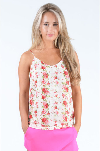 Ladies Ethan Flower Print Chiffon Cami Top at Pop Couture UK