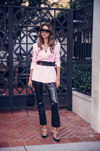 vivaluxury - fashion blog by annabelle fleur: nyfw mini moment blogger jacket pants shoes belt sunglasses bag blazer pink blazer handbag black pants leather pants
