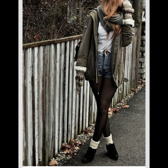 scarf jacket gloves fall outfits leg warmers socks