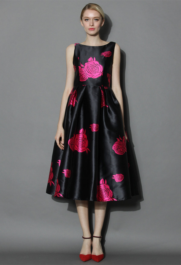 Dress Chicwish Your Grace Black Prom Dress With Pink Roses Prom