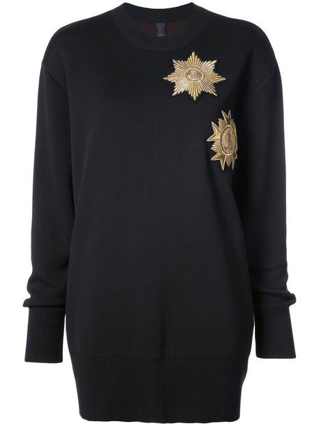 Vera Wang jumper loose metallic women spandex fit black wool sweater