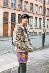 jacket,tumblr,fur jacket,faux fur jacket,leopard print,hat,fisherman cap,skirt,mini skirt,tartan,plaid skirt,tartan skirt,tights
