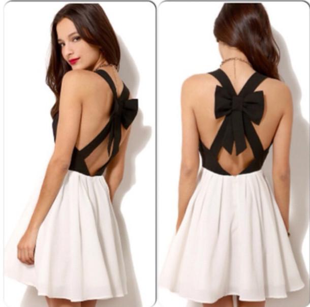 Cute sexy bow fresh dress