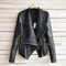Sexy womens slim black biker motorcycle pu soft leather zipper jacket coat