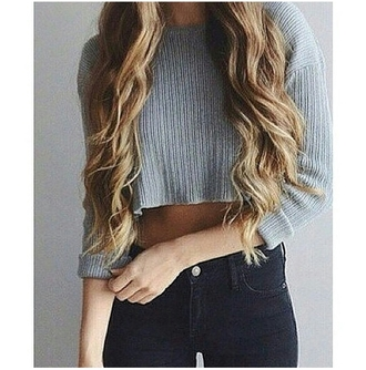 sweater cropped sweater gray sweater high waisted skinny jeanss high waisted jeans tumblr outfit tumblr top tumblr girl on point clothing body goals skinny thinspo stylish style fashion inspo inspiration blouse jeans