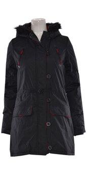 coat,women fur hooded full sleeves parka jacket  dark navy