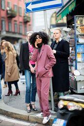 jacket,blazer,pink blazer,sneakers,black turtleneck top,turtleneck,sunglasses,black sunglasses,trainers,adidas