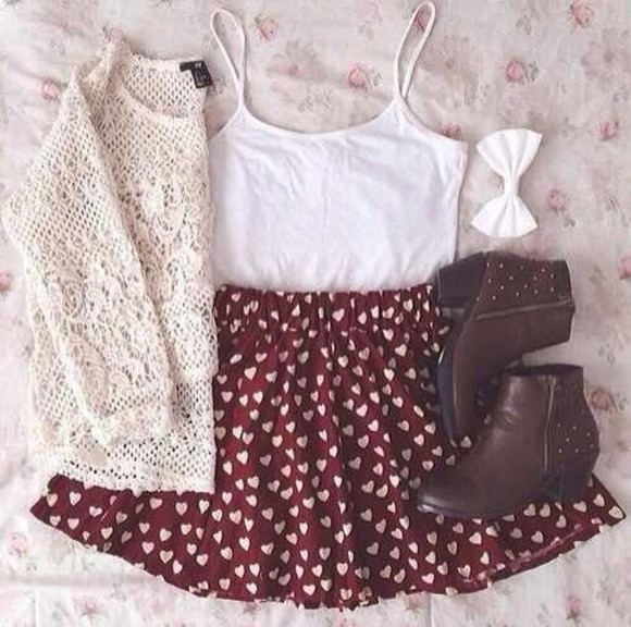 hair bow skirt shoes sweater white hair bow red heart skirt tank top brown booties white sweaters , winter sweaters , lace