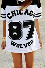 shirt,chicago wolves,white,baseball,black,87,t-shirt,gold chain,wolves,summer,street,spike stretch,chain,no pants,legs,long,black and white,gold,oversized,chicago wolves 87,dress,basketball,number,chicago,blouse,black and white jersey dress,jersey,stripes,dance,black/white long chicago wolves,b&w,girl