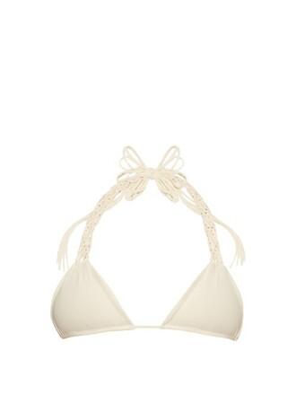 bikini bikini top triangle bikini triangle white swimwear