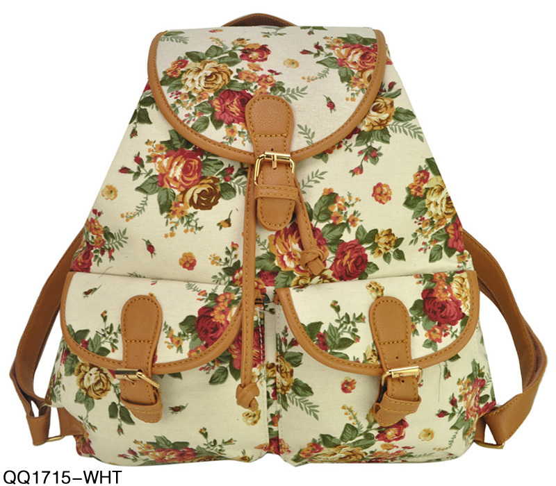 New Arrival Floral Print Backpack For Girl Women Leisure Bag Canvas School Bags Free Shipping QQ1715-in Backpacks from Luggage & Bags on Aliexpress.com