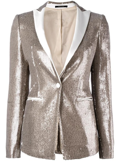 TAGLIATORE blazer women spandex embellished grey metallic jacket