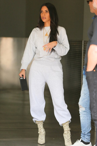 pants sweatpants sweatshirt kim kardashian kardashians grey sweater