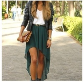skirt,long skirt,dress,green dress,white dress,white top,green skirt