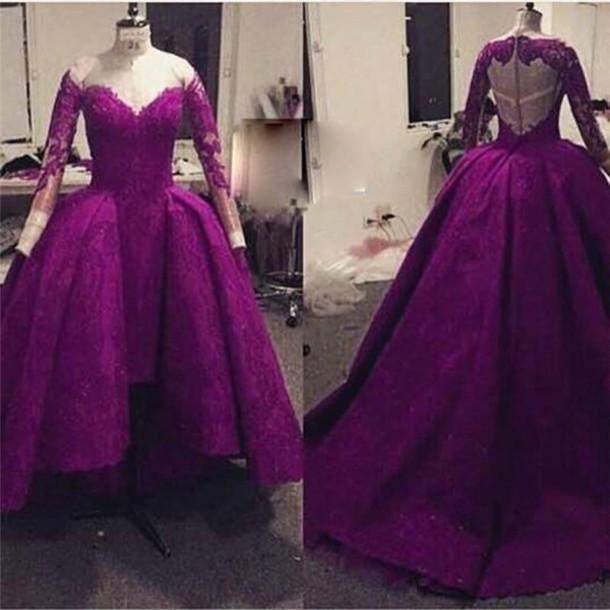 dress, purple lace evening dresses, high low evening dresses, long ...