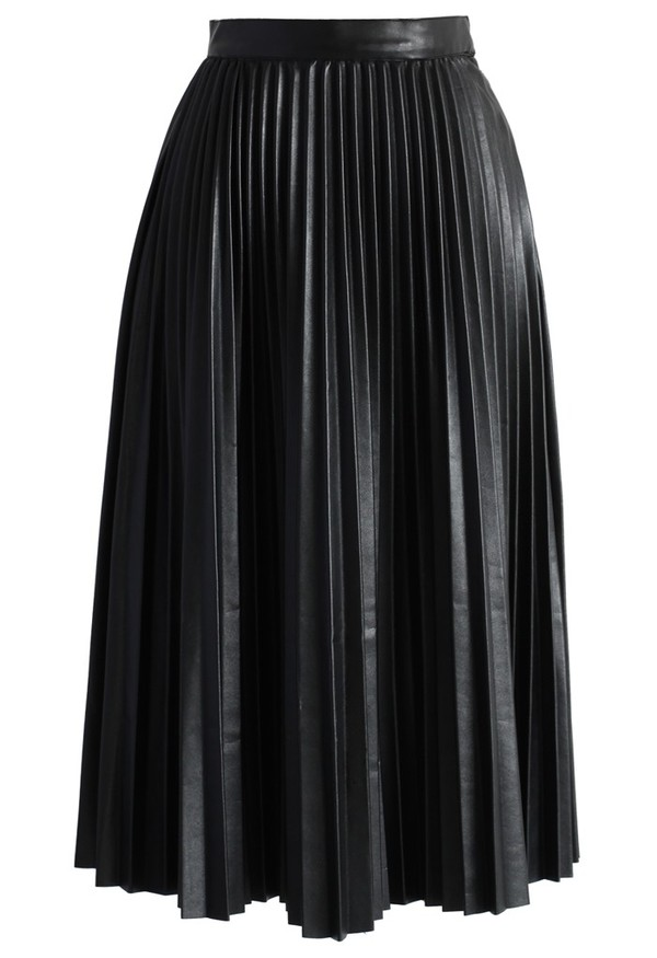 chicwish pleateds skirt faux leather skirt