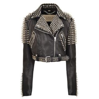 Brit Multi Stud Cropped Leather Biker Jacket | Womens Designer