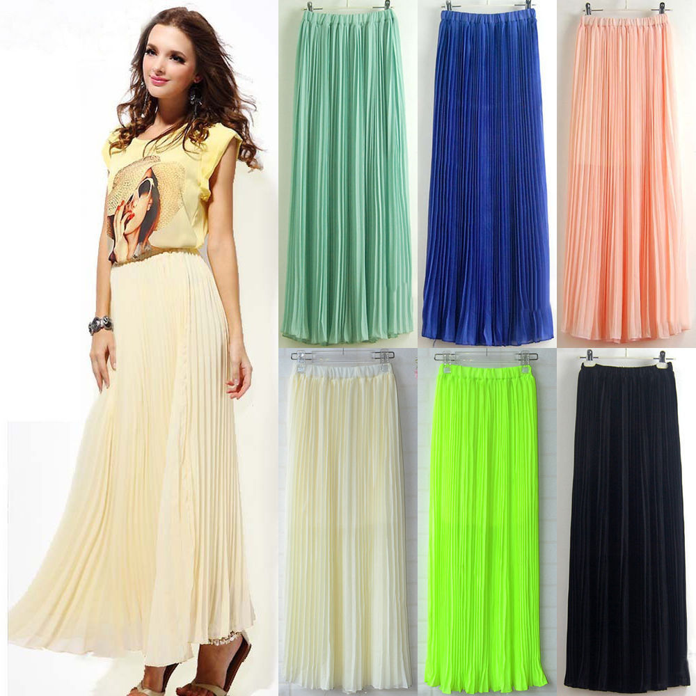 New Womens Chiffon Pleated Retro Long Maxi Full Skirt Elastic WaistBand Dress