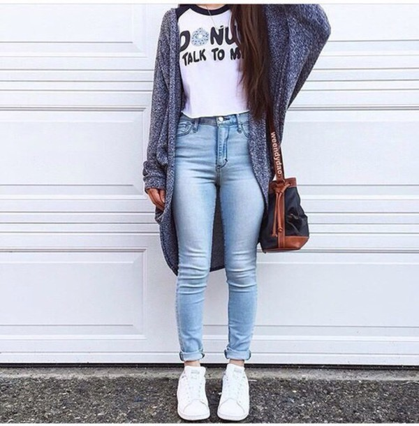 sweater, donut, sweater weather, tumblr, tumblr outfit, cute, outfit, ootd, back to ...