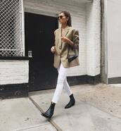 shoes,boots,ankle boots,leather boots,skinny jeans,white jeans,oversized,blazer,aviator sunglasses