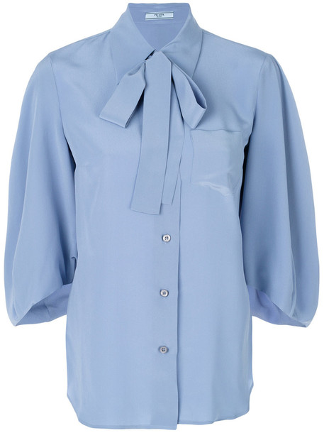 Prada - pussybow blouse - women - Silk - 46, Blue, Silk