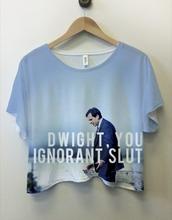 shirt,the office,t-shirt,crop tops,blue,top,dwight schrute,dwight